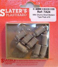 Slaters 7A24 8 x Later Type Milk Churns 0 Gauge Unpainted Plastic 1st Class Post