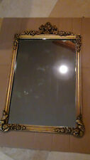 ANTIQUE FRENCH VICTORIAN WOOD CARVED FLORAL ORNATE GILT FRAME MIRROR
