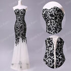 Black LACE MERMAID Wedding Bridesmaid Evening Dress Prom Party Cocktail Dresses