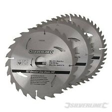 "Silverline 200mm 8"" TCT Circular Saw Blades 24 40 48 Teeth 3pk 30mm Bore 749249"