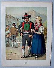 Trachten, Italy, Südtirol, Meran - Lithographie A.Kretschmer 1871