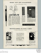 1934 PAPER AD Lektrolite Pencil Model Flameless Cigarette Cigar Lighter 14K Gold