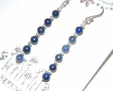 DAINTY Navy LAPIS LAZULI Gemstone & Sterling Silver Long Drop Earrings ~ 42mm