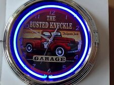 US BUSTED KNUCKLE SERVICE Wanduhr Neonuhr Neon signs clock Uhr Neonclock news