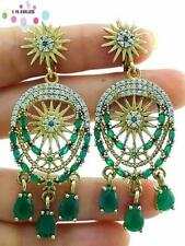 925 STERLING SILVER EMERALD EARRINGS TURKISH HANDMADE VICTORIAN JEWELRY E2495