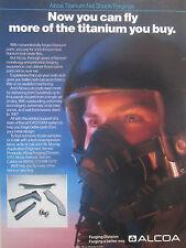 5/1989 PUB ALCOA TITANIUM NET SHAPE FORGING AEROSPACE PILOT HELMET ORIGINAL AD