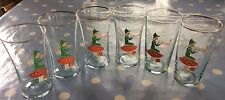 6 Vintage Small Fairy Pixie on Toadstool Drinking Glasses Mushroom Retro 1950's