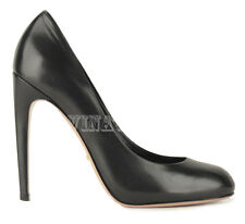 GUCCI SHOES HIGH HEEL BLACK LEATHER ROUNDED TOELINE PUMP sz 39.5 / 9.5