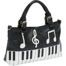 Ashley M Piano Keyboard Handbag - Black Satchel NEW