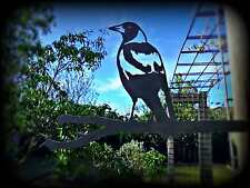 GARDEN WEDGE MAGPIE BIRD STAKE METAL ART ORNAMENT SCULPTURE OUTDOOR DECORATION