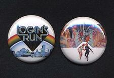 LOGAN'S RUN Badge Button Pin pair - CLASSIC!