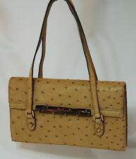 New Authentic Gucci Ostrich Leather Handbag Bamboo Accent Italy 9.5 in (24.2 cm)
