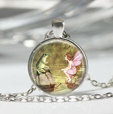 Mythology Frog and Fairy Glass Cabochon Tibet silver pendant chain necklace