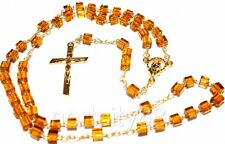 Catholic Rosary necklace Glass cube beads Madonna center Crucifix gold color