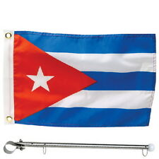 12 x 18 Cuba Rail Mount Flag Kit for Boats - Flag and Pole