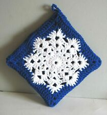 "NEW Hand Crocheted LARGE Snowflake Pot Holder Hot Pad Decor 8.5"" FREE SH"