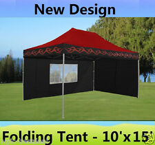 10' x 15' Pop Up Canopy Party Tent Gazebo EZ - Red Flame - E Model