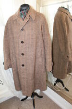 "Harris Tweed brown wool mens coat - 50"" XXL - 1940s CC41 WW2 era"