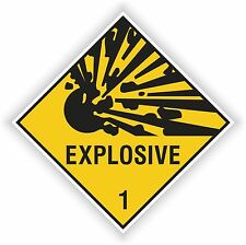 1x EXPLOSIVE YELLOW  sticker Explosion warning danger BUMPER DECAL 10x10cm=4x4""