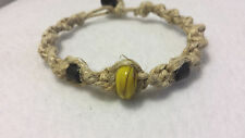Thick Natural Hemp Bracelet Handmade Yellow Moretti Art Glass Bead Surfer boho
