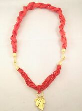 Handmade Coral Silk & Genuine Coral Gemstone Seed Bead Necklace Best Xmas Gift