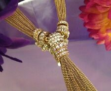 Chico's Long Gold Tassel Necklace Clear Rhinestone Baguettes NWOT $59