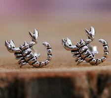 925 Sterling Silver Stud Earrings Scorpion Pendant Antique Touch Handcraft w Box