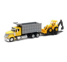 NEWRAY 1:43 LONG HAUL TRUCKER INTERNATIONAL LONESTAR DUMP TRUCK W/ WHEEL LOADER