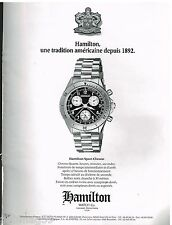 Publicité Advertising 1990 La Montre Hamilton Sport Chrono