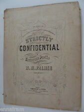 1865 antique sheet music Strictly Confidential humorous duet H R Palmer