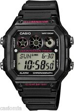 Casio AE1300WH-1A2 Mens 100M LED Black Resin Sports Watch Stopwatch Alarm NEW