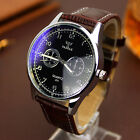 Fashion Stainless Steel Leather Men's Date Sport Analog Quartz Wrist Watch