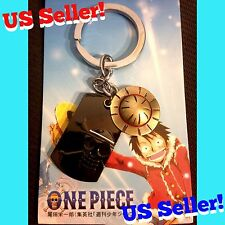 One Piece Anime Keychain Luffy Straw Hat Charm + Jolly Roger Skull Dog Tag Metal