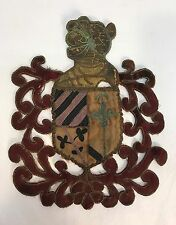 Antique 18th C Italian Embroidered Family Crest Coat Of Arms Gold Metallic Trim