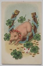 St. Patrick's Day Postcard Lucky Pig, Horseshoe, Four Leaf Clover