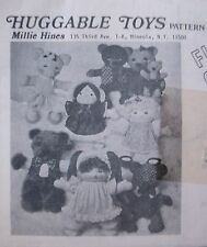 "Vtg HUGGABLE TOYS Millie Hines SEWING Pattern Mail Order UNCUT 14"" Dolls Animal"