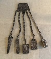 Antique English R&W Sterling Silver Magnificent Gargoyle Large Chatelaine