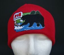 CANADA CANADIAN FLAG MAPLE LEAF RED BLACK BROWN BEAR UNISEX SKI HAT BEANIE HATS