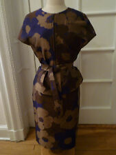 NWT: ESCADA Rock Pencil Skirt and Cap Sleeve Jacket, Navy/Brown/Bronze,  40/42