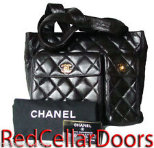 Auth CHANEL TIMELESS Quilted Lambskin Handbag Multi Pocket Tote Bag 24K Gold Hdw