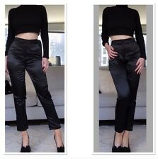NWT Missguided Black Satin Cigarette Pants - Size 4