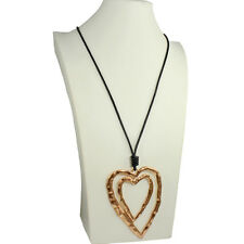 Lagenlook huge hammered finish double gold heart pendant leather long necklace