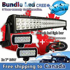 """52inch Led Light Bar Curved + 2X 7"""" CREE Pods LED Work Lights Truck SUV 4X4 Jeep"""