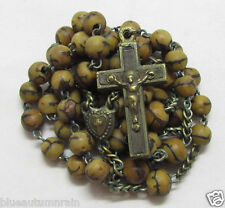 "† HTF BLOOD ""BOIS DURCI"" 1800s ANTIQUE HAND FILED EBONY BRASS CRUCIFIX ROSARY †"