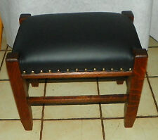 Solid Quartersawn Oak Black Leather Mission Footstool / Stool  (ST142)