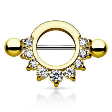Pair of Half Circle CZ Gem Gold IP Surgical Steel Nipple Rings Shield 14G 9/16""