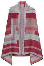 TOPSHOP CAPE PONCHO FESTIVAL SOFT WOVEN RED PINK GREY