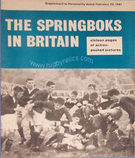 Springboks to Britain & France 1960/1 RUGBY BOOKLET - PERSONALITY MAGAZINE