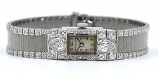 ANTIQUE ART DECO HAMILTON ~3 CTTW DIAMOND PLATINUM LADIES WATCH 22J CAL 757