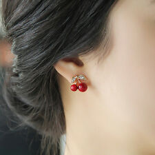 1 Pair Women Girl Fashion Cute Rhinestone Red Cherry Ear Stud Earrings Gift